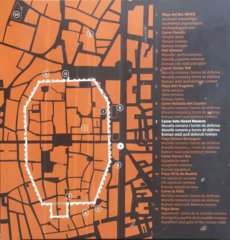 Marker Inset showing outline of the Roman Wall and location of access points image. Click for full size.