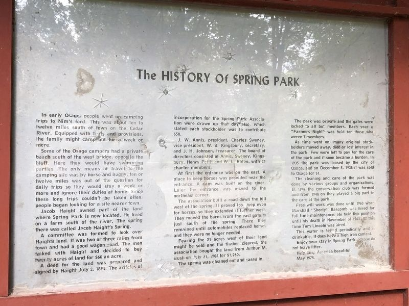 History of Spring Park Marker image. Click for full size.