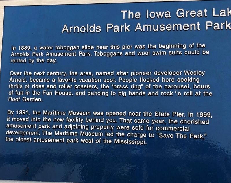 The Iowa Great Lakes Maritime Museum Marker image. Click for full size.