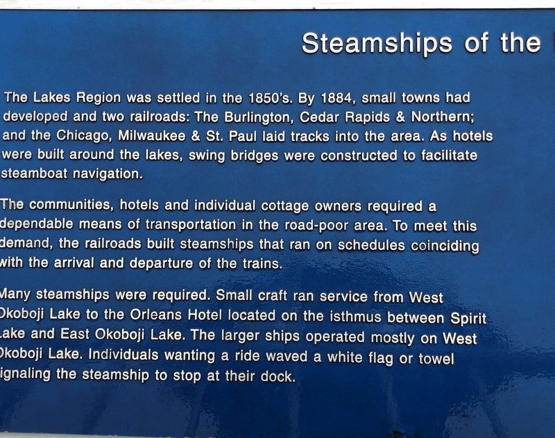 Steamships of the Iowa Great Lakes Marker image. Click for full size.