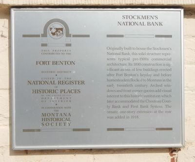 Stockmen's National Bank Marker image. Click for full size.