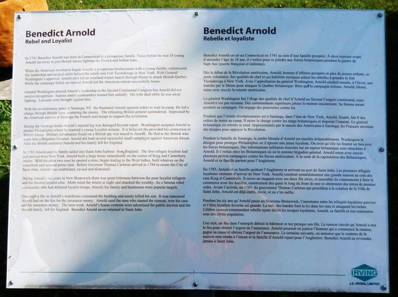 Benedict Arnold Marker image. Click for full size.