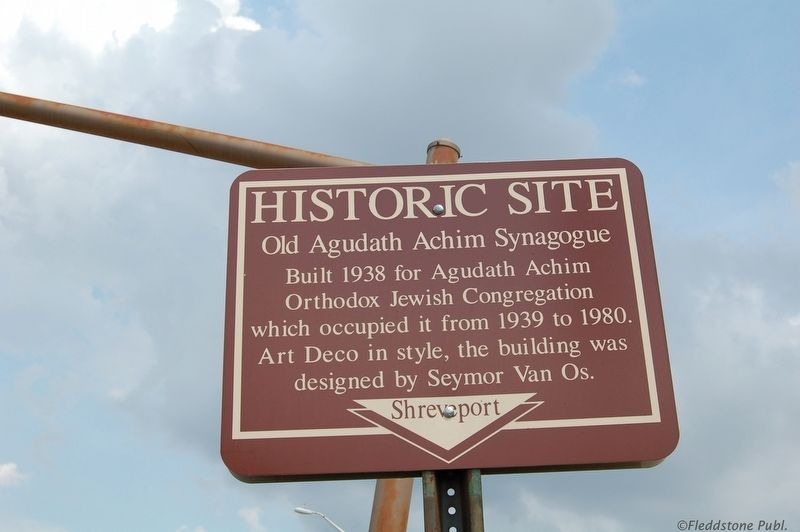 Old Agudath Achim Synagogue Marker image. Click for full size.
