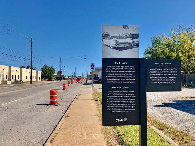 Dry Cleaners Marker looking east on Old Route 66. image. Click for full size.