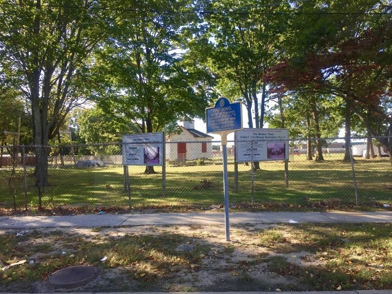 First School Marker - with schoolhouse in background image. Click for full size.