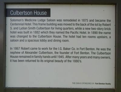 Culbertson House Marker image. Click for full size.