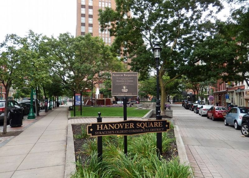 Alexis de Tocqueville Marker • <i>wide view<br>(at the west apex of Hanover Square)</i> image. Click for full size.