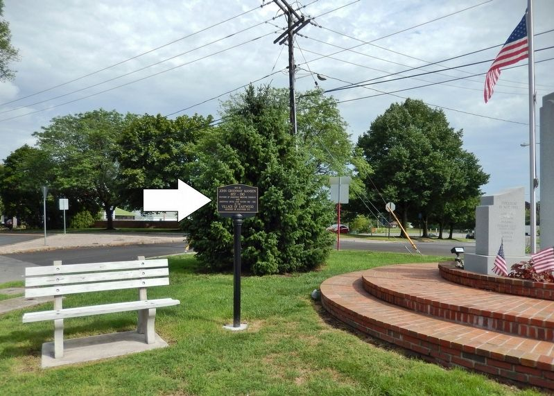 Site of John Greenway Mansion Marker<br>(<i>wide view • Veterans Memorial on right</i>) image. Click for full size.