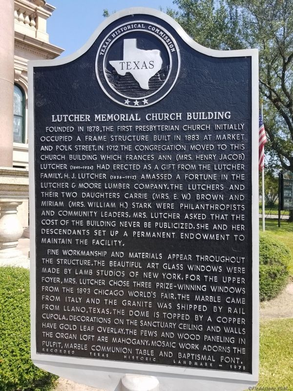 Lutcher Memorial Church Building Marker image. Click for full size.