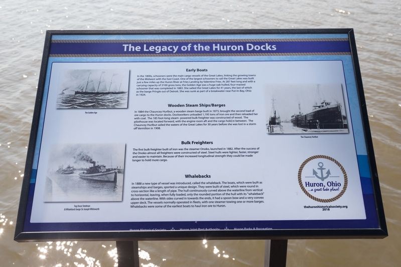 Early Boats / Wooden Steam Ships and Barges / Bulk Freighters / Whalebacks interpretive panel image. Click for full size.