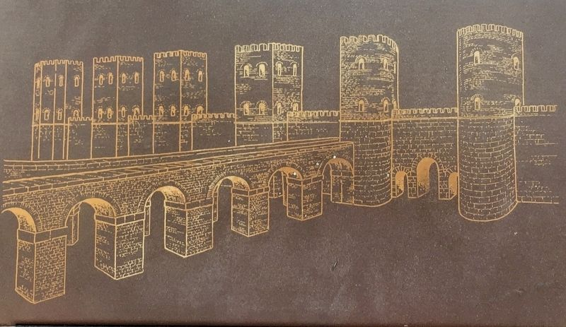Marker inset: artist's rendition of towers, aqueduct, and gate image. Click for full size.