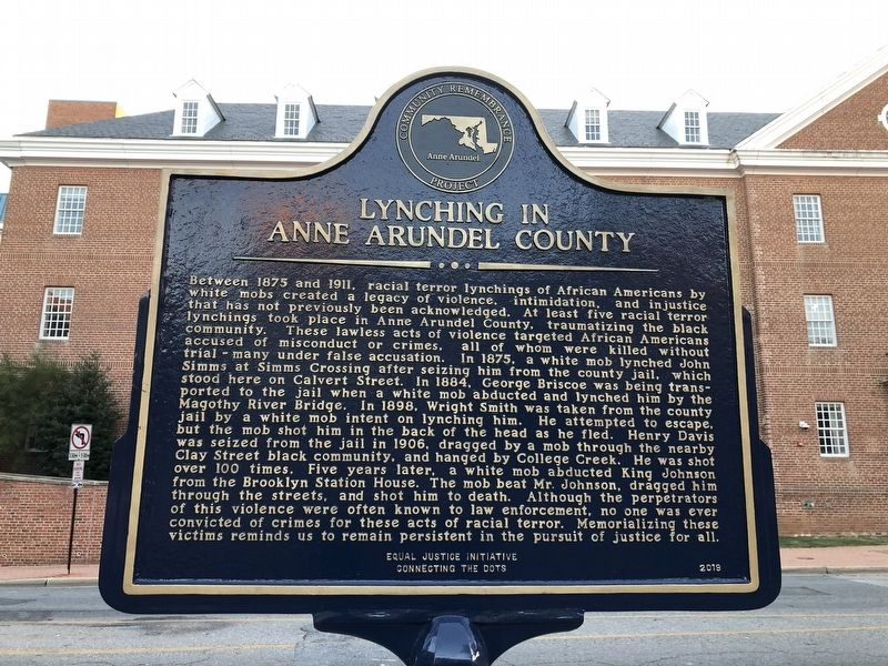 Lynching in Anne Arundel County side of marker image. Click for full size.