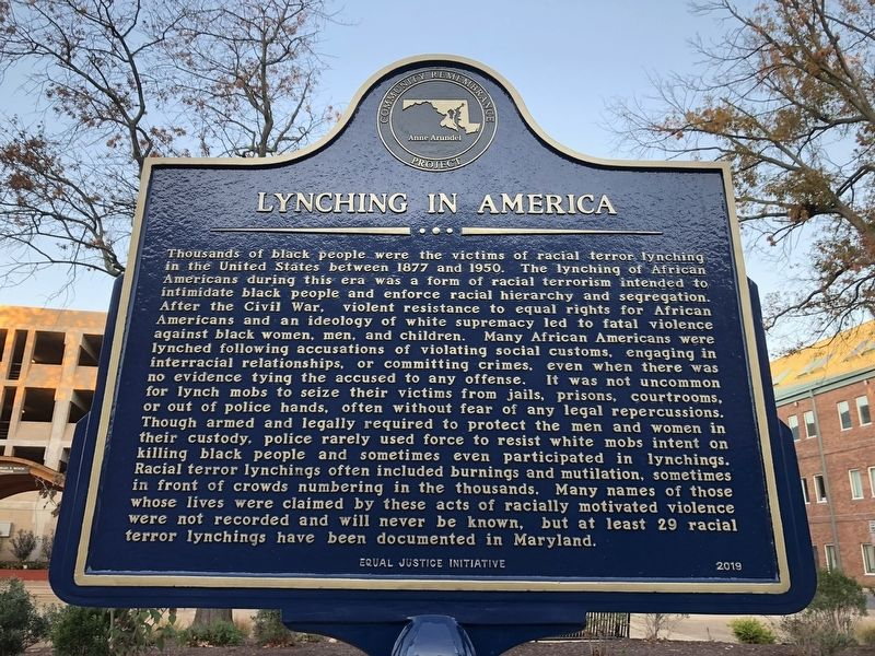 Lynching in America side of marker image. Click for full size.