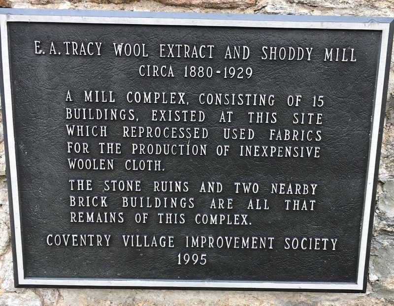 E.A. Tracy Wool Extract and Shoddy Mill Marker image. Click for full size.
