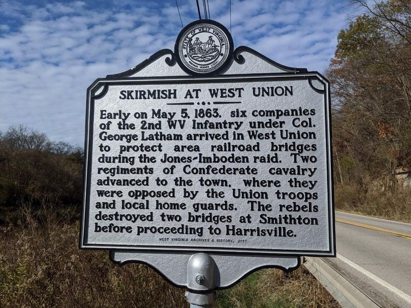 Skirmish at West Union Marker image. Click for full size.