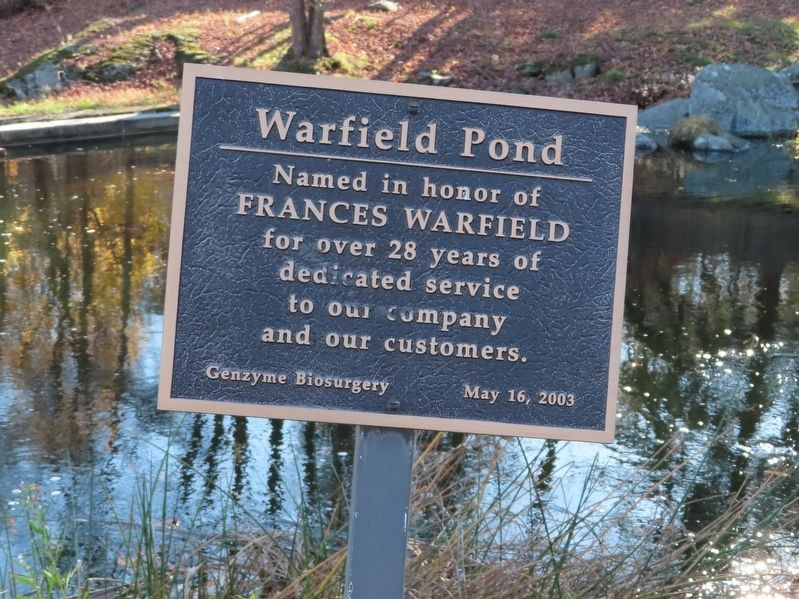 Warfield Pond Marker image. Click for full size.