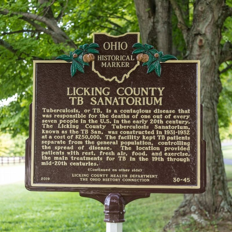 Licking County TB Sanatorium side of marker image. Click for full size.