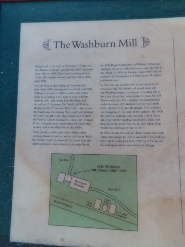 The Washburn Mill Marker image. Click for full size.