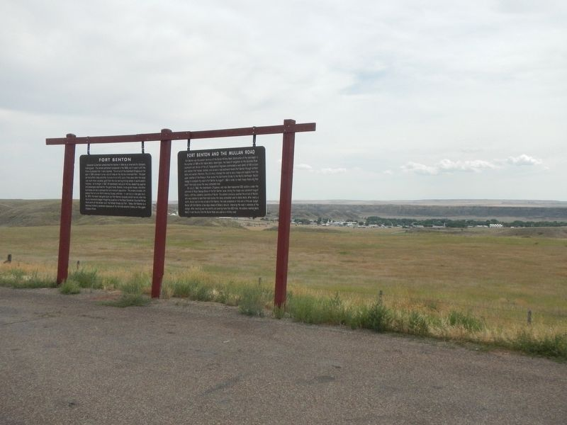 Fort Benton and the Mullan Road Marker, on right image. Click for full size.