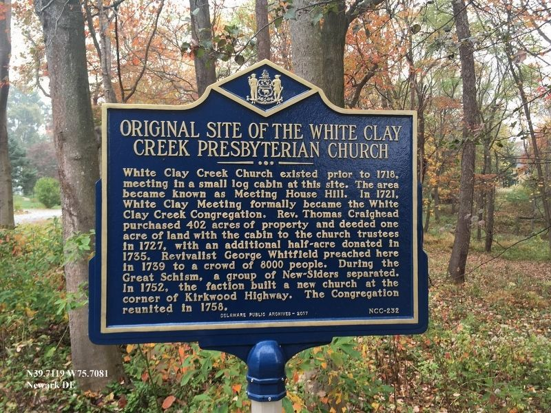 Original Site of the White Clay Creek Presbyterian Church Marker image. Click for full size.