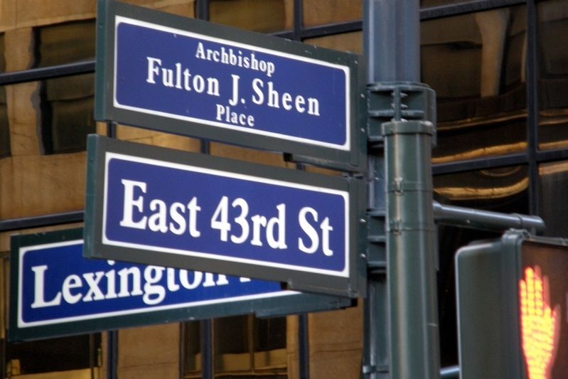 Archbishop Fulton J. Sheen Place streetsigns image. Click for full size.
