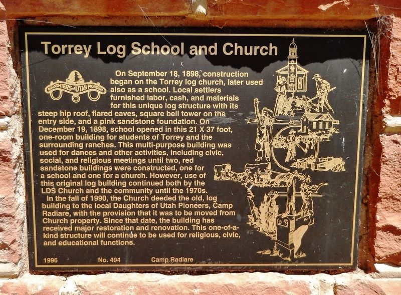Torrey Log School and Church Marker image. Click for full size.