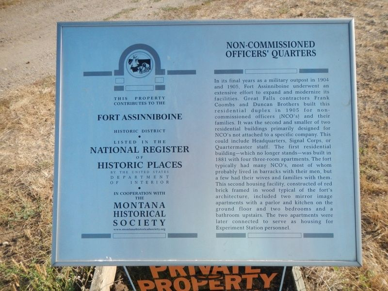 Non-Commissioned Officers' Quarters Marker image. Click for full size.