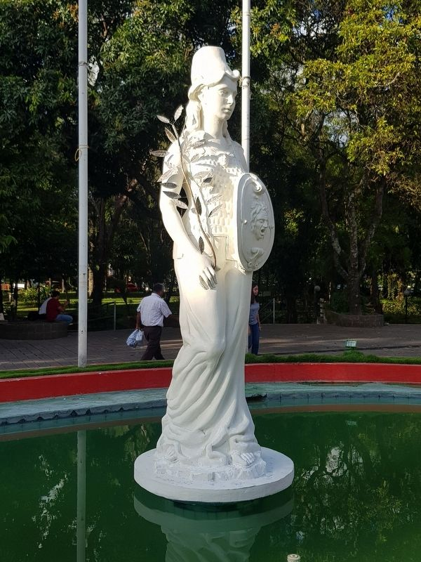 The nearby statue of Minerva, symbol of the University of El Salvador image. Click for full size.