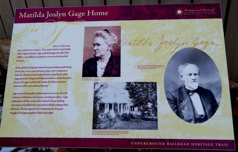 Matilda Joslyn Gage Home Marker image. Click for full size.