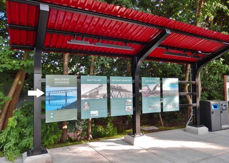 Walkway Over the Hudson Marker • <i>wide view<br>(leftmost of 5 interpretive kiosk panels)</i> image. Click for full size.