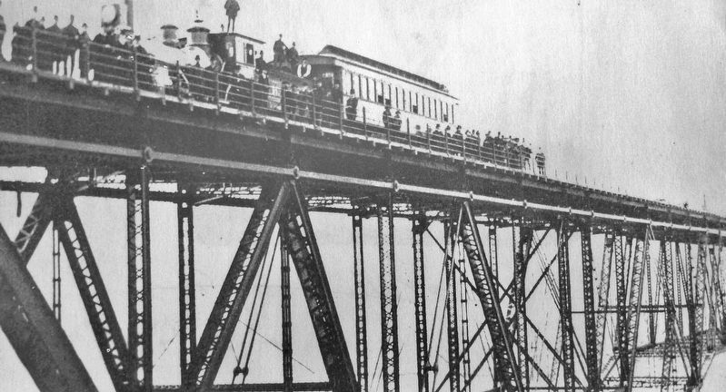 Marker detail: First train on the bridge during an informal test trip, December 29, 1888 image. Click for full size.