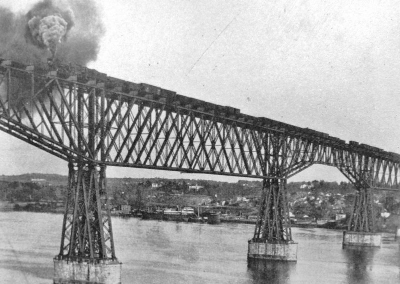 Marker detail: A long freight train heads west across the bridge (<i>undated</i>) image. Click for full size.