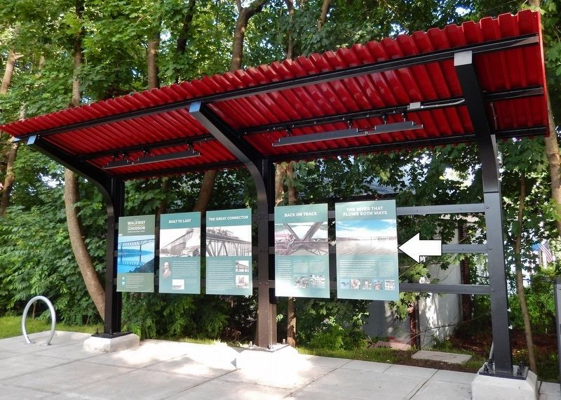 The River Flows Both Ways Marker • <i>wide view<br>(rightmost of 5 interpretive kiosk panels)</i> image. Click for full size.