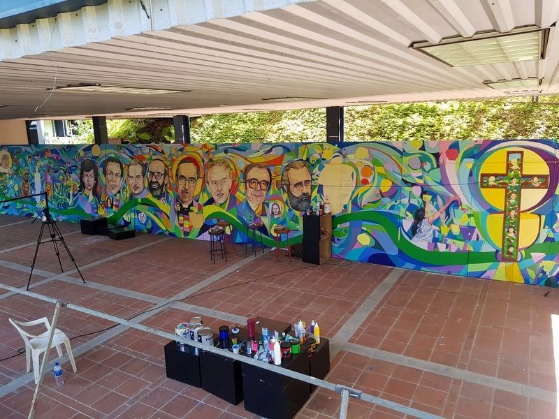 A mural close to completion near the Students Peace Plaza Marker image. Click for full size.