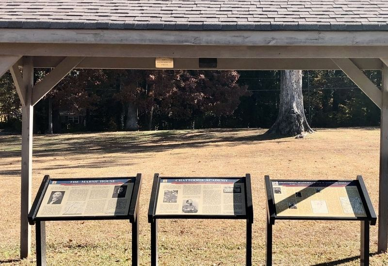 Chattooga Academy Marker in the middle of three. image. Click for full size.