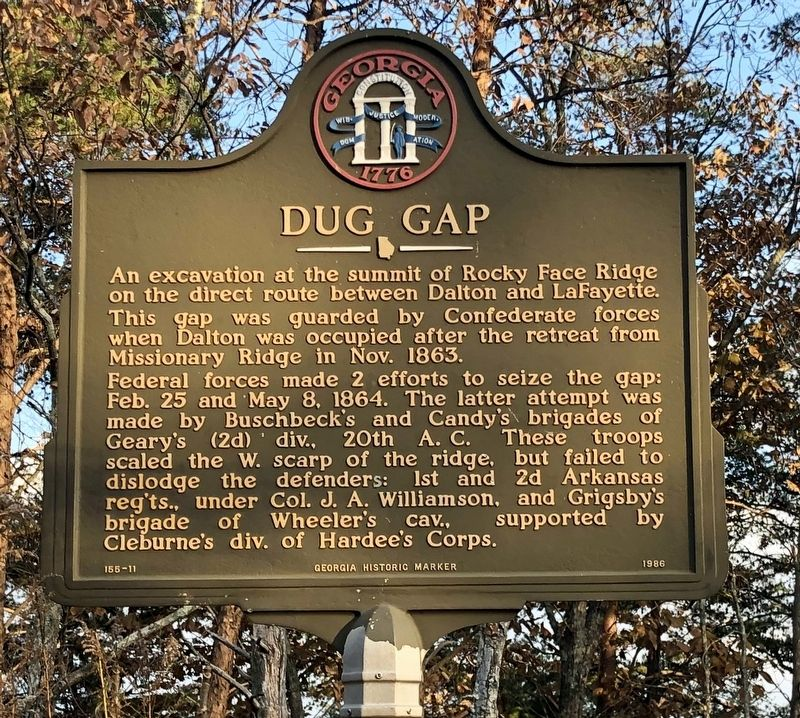 Marker across the road about Dug Gap battle. image. Click for full size.