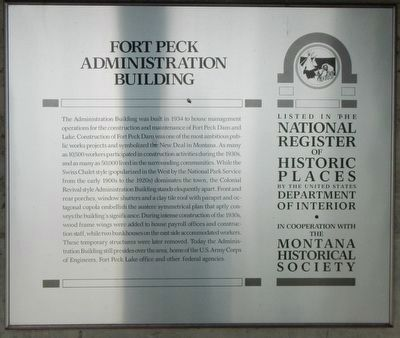 Fort Peck Administration Building Marker image. Click for full size.
