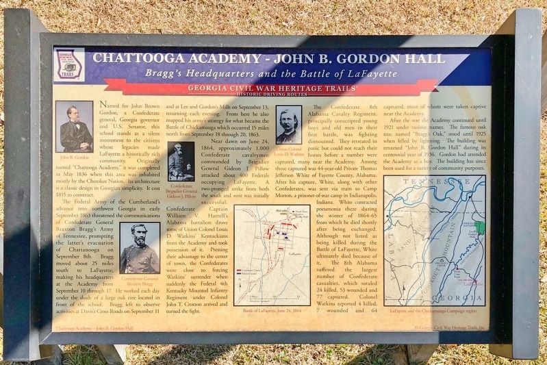 Chattooga Academy - John B. Gordon Hall Marker image. Click for full size.