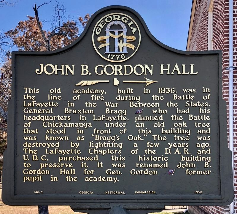 Nearby marker about the John B. Gordon Hall. image. Click for full size.