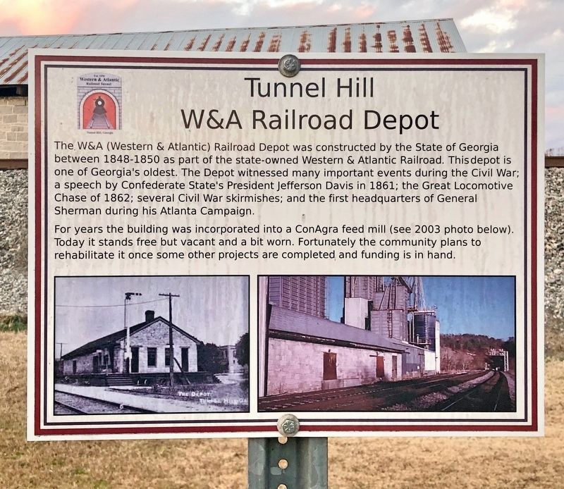 Tunnel Hill W&A Railroad Depot Marker image. Click for full size.
