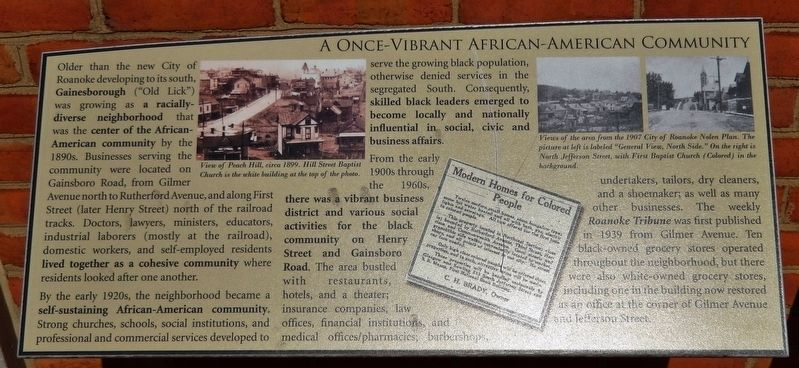 A Once-Vibrant African American Community Marker image. Click for full size.
