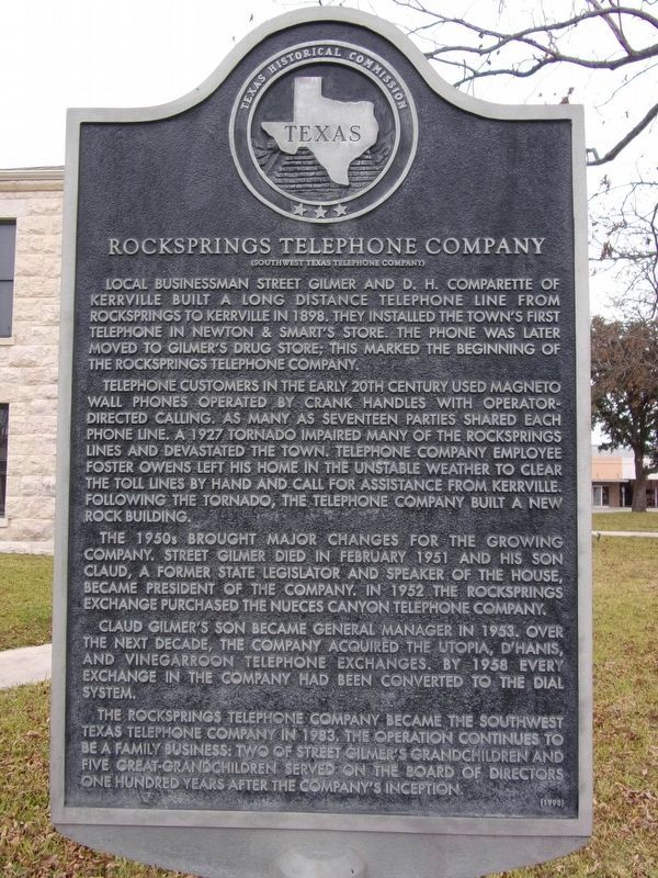 Rocksprings Telephone Company Marker image. Click for full size.