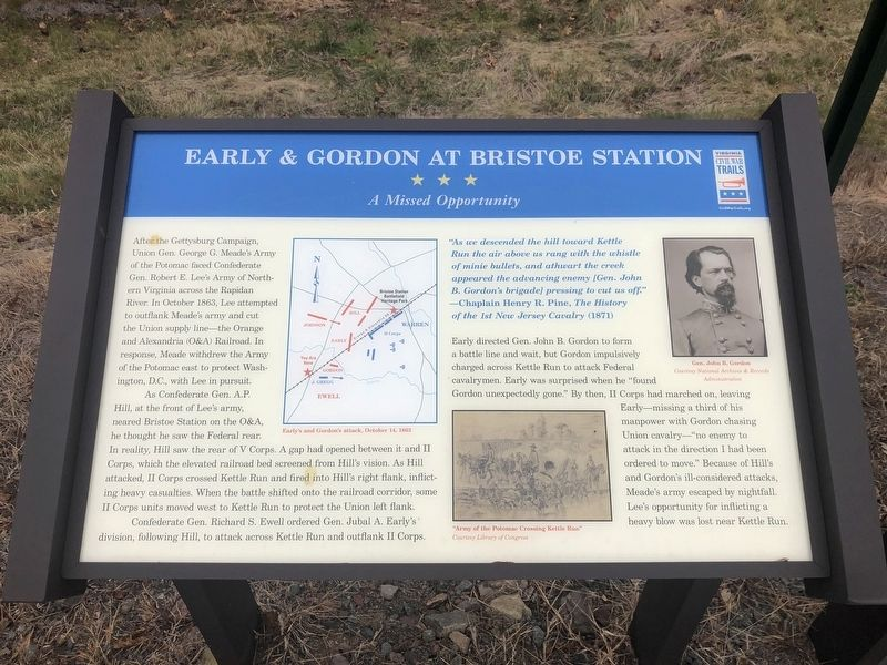 Early & Gordon at Bristoe Station Marker image. Click for full size.