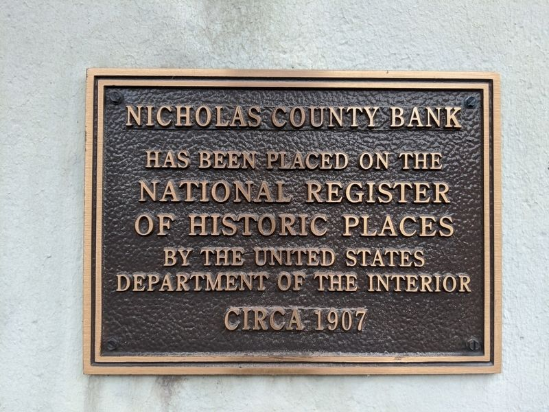 Nicholas County Bank Marker image. Click for full size.