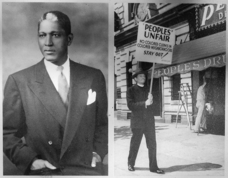 Marker detail: Belford Lawson, Jr., civil rights lawyer (<i>left</i>) image. Click for full size.