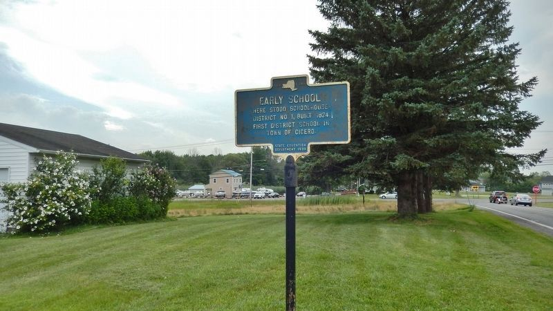 Early School Marker • <i>wide view<br>(Miller Road on right • Brewerton Road in background)</i> image. Click for full size.