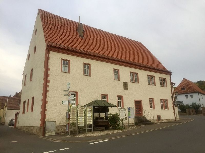Former Monastery Building and Historic Winepress and Marker image. Click for full size.