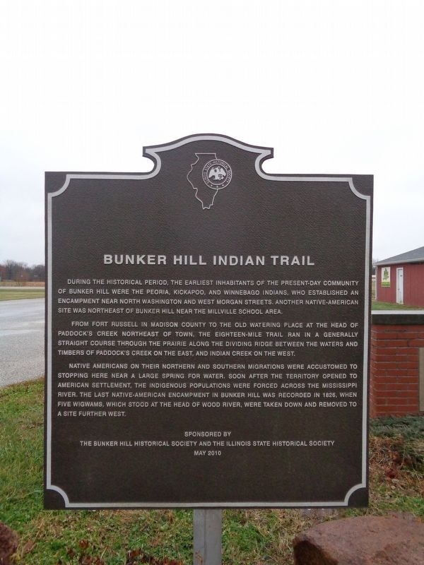 Bunker Hill Indian Trail Marker image. Click for full size.