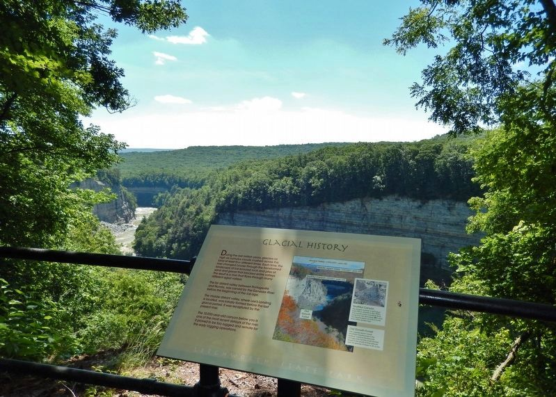 Glacial History Marker • <i>wide view<br>(Genesee River Gorge in background)</i> image. Click for full size.