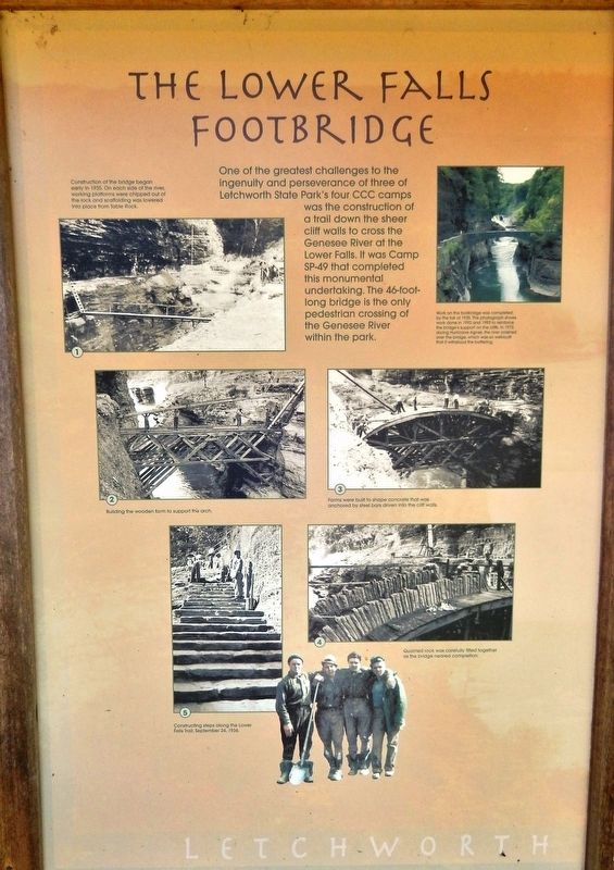The Lower Falls Footbridge Marker image. Click for full size.